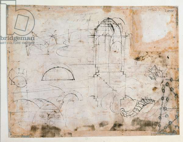 Studies for the interior outline of the St Peter's Basilica (Basilique Saint Pierre de Rome), 1514 (brown ink and charcoal)
