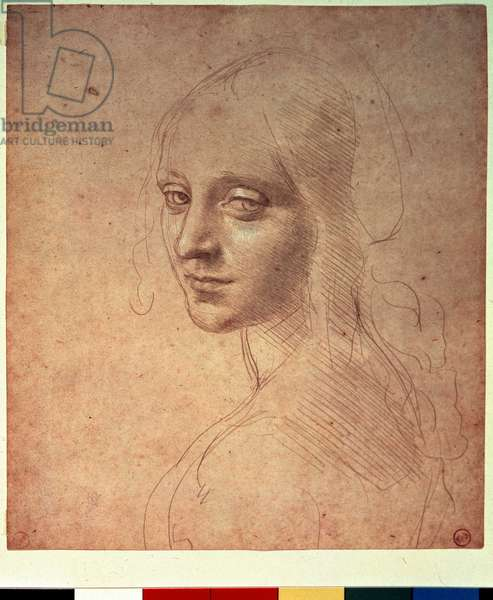 Study for the Angel of the Virgin of the Rocks, by Leonardo da Vinci (1452-1519), c. 1478-1485 (metalpoint heightened with white on prepared paper)