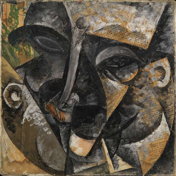 Dynamism of a Man's Head or Composition of a Woman's Head or Decomposition of Human Head or Lines Forces the Head of a Man (Dinamismo di una testa di uomo), by Umberto Boccioni, 1915, 20th Century, oil, ink and collage on canvas, 30 x 30 cm