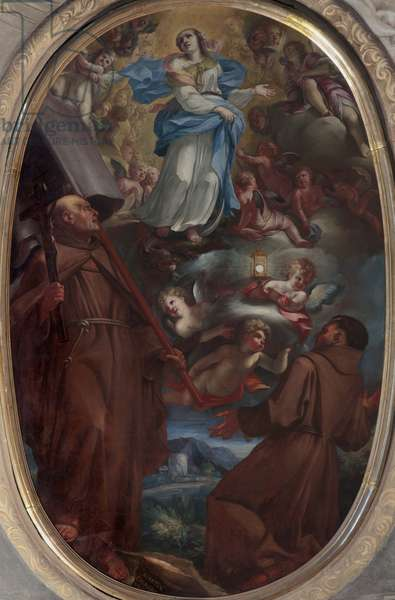 Immaculate with saints Paschal Baylon and John of Capestrano, by Martino Cignaroli, 1702, 18th Century, oil on canvas