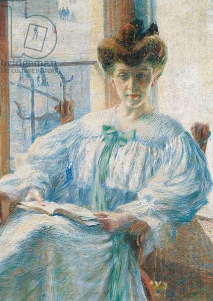 Lady Massimino (La signora Massimino), by Boccioni Umberto, 1908, 20th Century, oil on canvas, 123 x 151 cm
