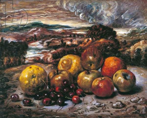 Fruit in the Landscape (Frutta nel paesaggio), by Giorgio de Chirico, 1949-1950, 20th Century, oli on canvas, 40 x 50 cm