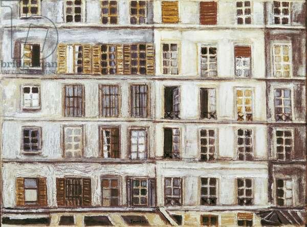 The White Windows (Le finestre bianche), by Orfeo Tamburi, 1957, 20th Century, oil on canvas, 55 x 75 cm