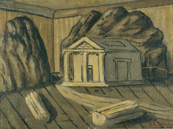 Magic interior (Interno magico), by Giorgio De Chirico, 20th Century, oil on canvas pasted on masonite