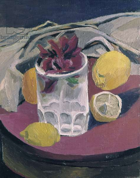 Chilli and lemons (Peperoncini e limoni), 20th Century, oil on canvas