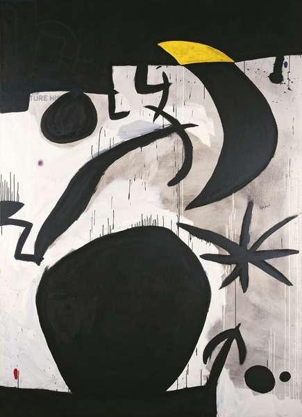 Woman and Birds in the Night (Femme et oiseaux dans la nuit), by Joan Mirî, 1969-1974, acrylic on canvas, 244 x 174 cm