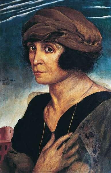 Portrait of Mrs Bontempelli (Ritratto della signora Bontempelli), by Giorgio de Chirico, 1922, 20th Century, tempera on board, 44 x 30 cm