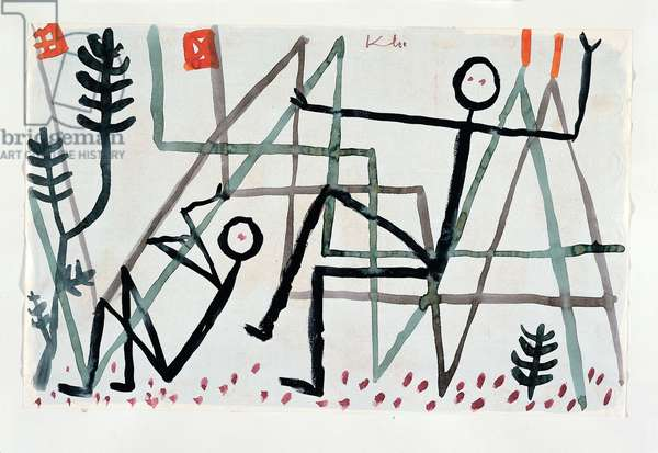 Climbing Forest landscape with individuals reduced to black lines (children's drawings) in motion 1935