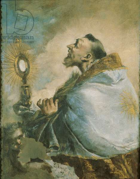 Saint in ecstasy in front of the Monstrance (L'estasi di un Santo davanti all'Ostensorio), by Francesco Guardi, 1740 - 1750, 18th Century, oil on canvas, 87 x 69 cm