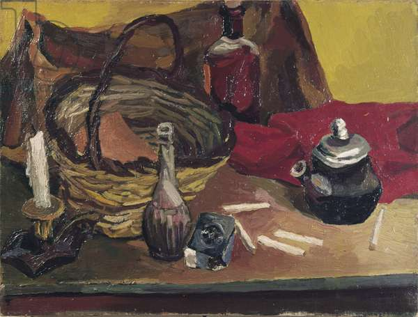 Candle and pack of Tre Stelle (Candela e pacchetto di Tre Stelle), by Renato Guttuso, 1940, 20th Century, oil on canvas