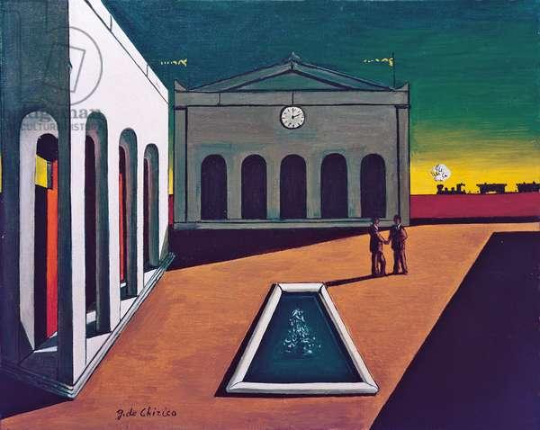 Italian Square (Piazza d'Italia), by Giorgio de Chirico, 1960, 20th Century, oil on canvas, 40 x 50 cm