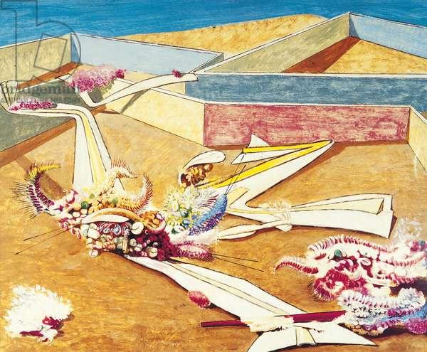 Garden Areoplane Traps (Jardin gobe avions), by Max Ernst, 1936, 20th Century, tempera on paper, 40 x 50 cm