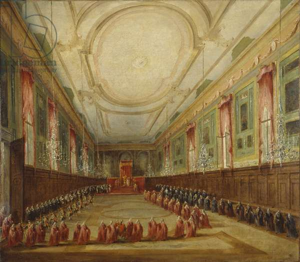 Pius VI takes leave of the doge in the convent of San Zanipolo, by Francesco Guardi, 18th century, oil on canvas.