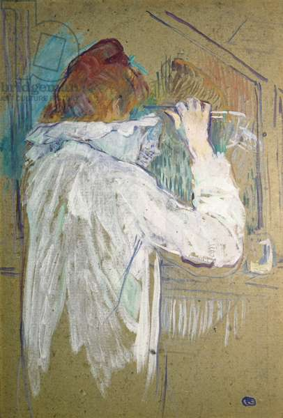 Woman curling her hair (Femme se frisant), by Henri de Toulouse-Lautrec, 1891, 19th Century, oil on cardboard, 54 x 36 cm