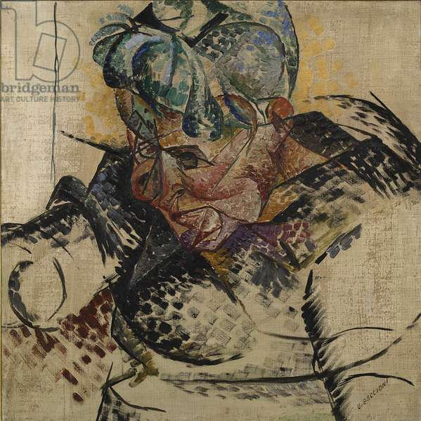 Study for the Head - Mother or Study for a Head or Antigraceful or Dimensions Abstract or Portrait of Mother (Studio di testa - La madre), by Umberto Boccioni, 1912, 20th Century, oil and tempera on canvas, 60 x 60 cm