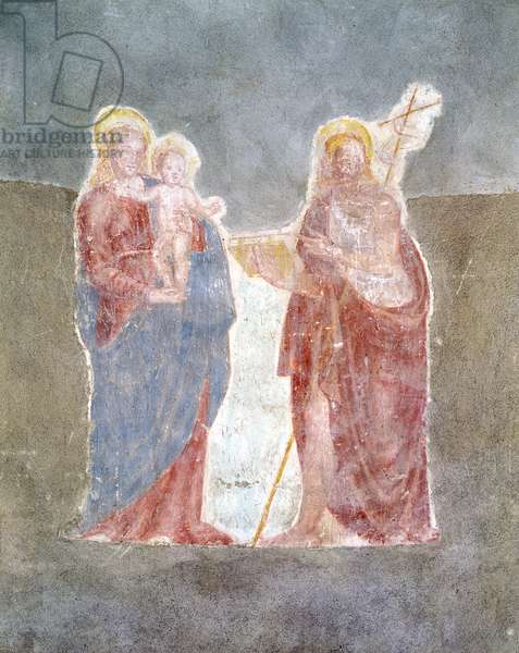 Virgin and Child with Saint John the Baptist, by Unknown Artist, 15th Century, fresco