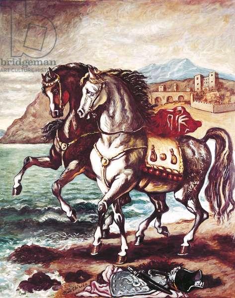 Horses on the Beach (Cavalli in riva al mare), by Giorgio de Chirico, 1963, 20th Century, oil on canvas