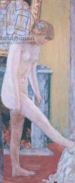 Nude in Front of the Mantlepiece (Jeune fille nue devant la cheminèe ou Nu devant la cheminèe), by Pierre Bonnard, 1919, 20th Century, oil on canvas, 49 x 118 cm