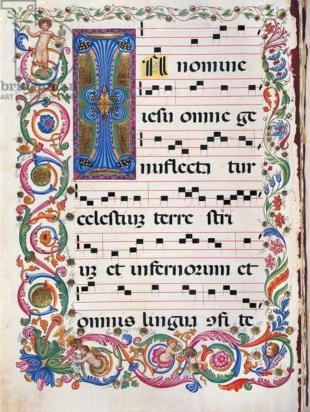 Proprio dei Santi gradual from the Feast of the Holy Name of Jesus to the Feast of San Leonardo da Porto Maurizio, (illuminated manuscript)