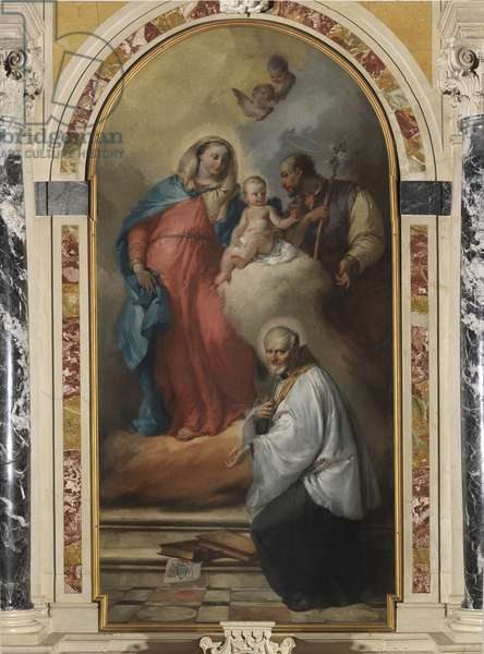 Madonna and Child with St. Joseph and St. Vincent de' Paoli, by Francesco Zugno, 18th Century, oil on canvas