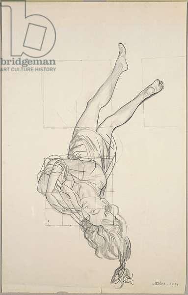 Femme fatale (Prone Woman) (Donne fatali (Donna prona), 1924 (pencil on cardboard)