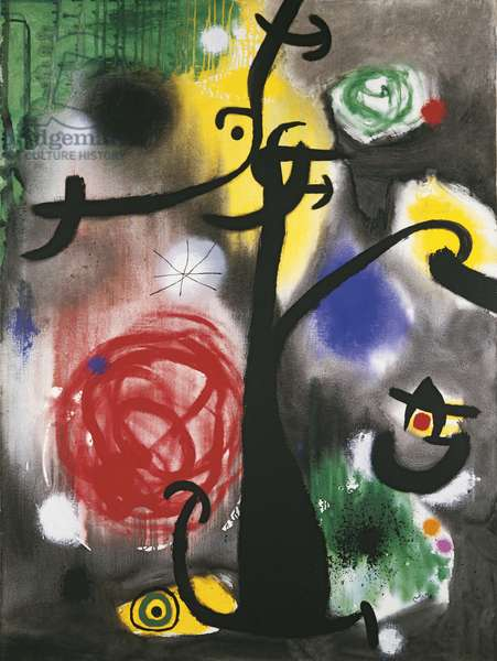 Woman and Birds in the Night (Femme et oiseaux dans la nuit), by Joan Mirî, 1968, 20th Century, acrylic on canvas, 130 x 97 cm