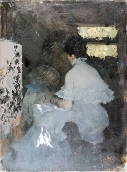 Between the Screens (Tra i paraventi), by Giuseppe De Nittis, 1879, 19th Century, oil on canvas, 72 x 53 cm