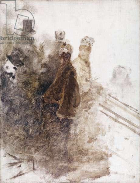 Studio for Racing II (Studio per le corse II), by Giuseppe De Nittis, 1880-1881, 19th Century, oil on canvas, 43 x 33 cm