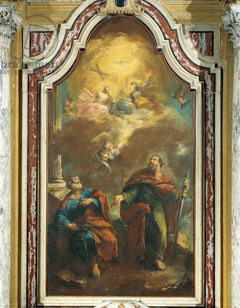 Holy Trinity Appearing to Sts. Peter and Paul (Apparizione della Santa Trinità ai Santi Pietro e Paolo), by Francesco Guardi, 18th Century, oil on canvas
