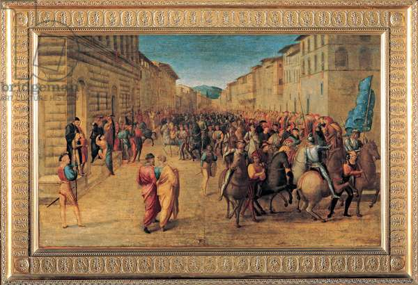 Arrival of Charles VIII at the Medici Palace in Florence, 1510 (tempera on wood)