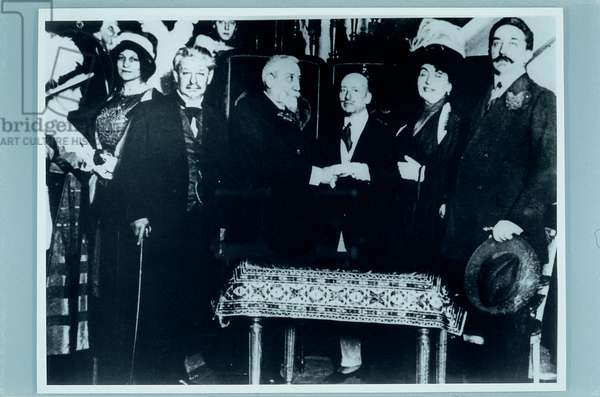 D'Annunzio in Paris with Robert de Montesquiou, Anatole France, Georges Brandes, Madeline Lenoir,