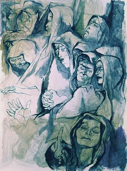 The Envious (Gli invidiosi), by Renato Guttuso, 1958 - 1961, 20th Century, ink and watercolour on paper