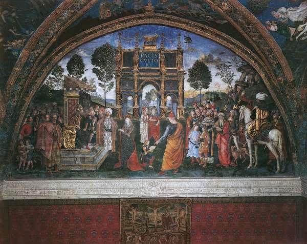 Dispute of St. Catherine, by Bernardino di Betto also known as Pinturicchio, 1492 - 1494, 15th Century, fresco