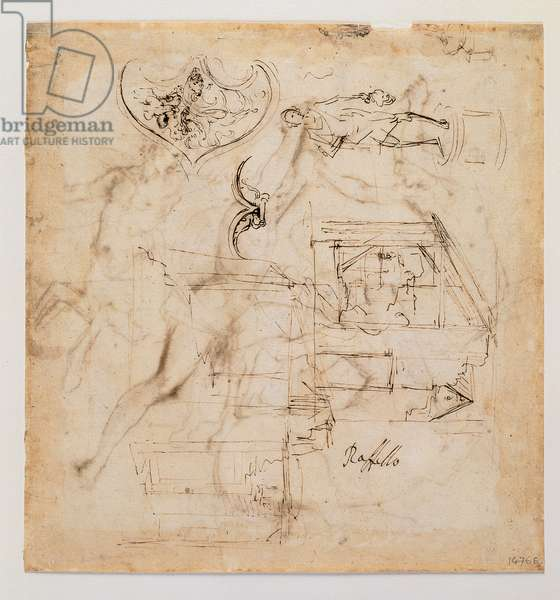 Architectural Sketches of a Statue of David and of the Hilt of a Sword, 1483-1520 (pen with brown and black ink)