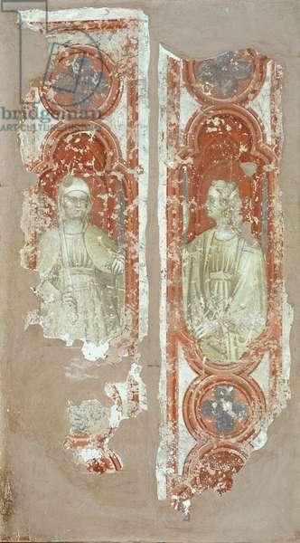 Justice and Backbiting (la Giustizia e la Maldicenza), by Alberti da Ferrara Antonio, 1423 - 1425, 15th Century, fresco, cm 160 x 45 each