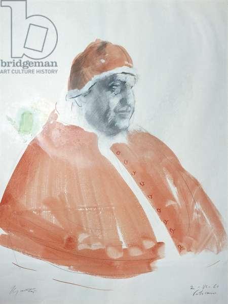 Study for a Portrait of Pope John XXIII (Studio per un ritratto di papa Giovanni XXIII), by Giacomo Manzù, 1960, 20th Century, gouache on paper