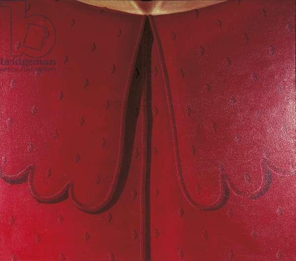 Red Dress Collar (Colletto Rosso), by Domenico Gnoli, 1969, 20th Century, acrylic on canvas, 150 x 170 cm