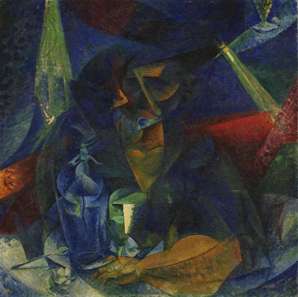 Woman at the Coffee - Penetration of Light and plan or Breakdown of the Figure of a Woman or Female Figure at the Table or Woman at the Table, by Umberto Boccioni, 1912 - 1914, 20th Century, oil on canvas, 86 x 86 cm