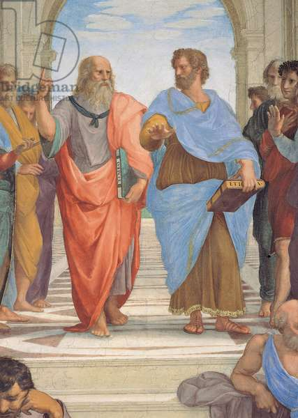 Plato, represented in the guise of Leonardo da Vinci, showing the sky, alongside Aristotle, his hand towards the ground, detail of the School of Athens, from the Stanza della Segnatura, 1510-11 (fresco)