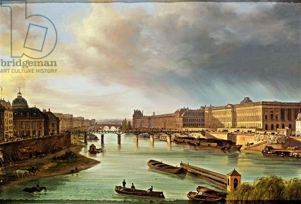 View of Louvre and Pont des Arts in Paris, 1830 (canvas)