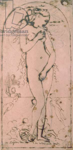 Study for Venus Anadyomene, by Jean Auguste Dominique Ingres, 1807, 19th Century, pen and graphit on paper, 18,8 x 9,9 cm