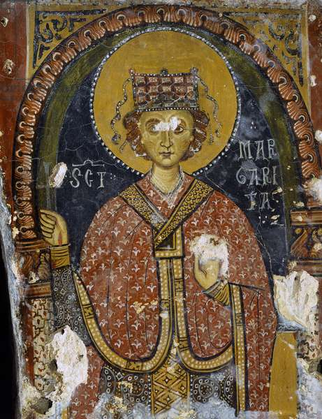 Saint Margaret, by Unknown Artist, 11th Century ca., fresco