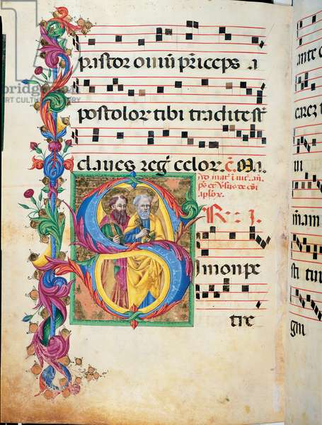Day and night Antiphonary from Holy Saturday to the 10th Sunday after Pentecost, (illuminated manuscript)