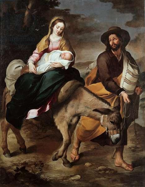 """""La fuite en Egypte"""" Peinture de Bartolome Esteban Murillo (1617-1682) 1645-1650 Genes, Galleria di Palazzo Bianco Italie (pse159385) ©Electa/Leemage"