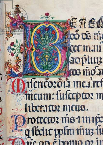 Psalter with weekday holiday day Hymns according to the Roman Curia tradition, (illuminated manuscript)