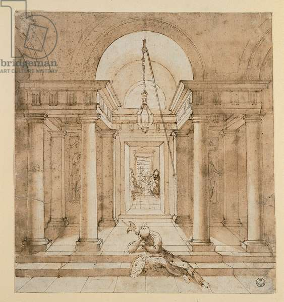 Perspective Sketch of a Vestibule with a Serliana/Palladian Window, 1483-1520 (watercolored pen)