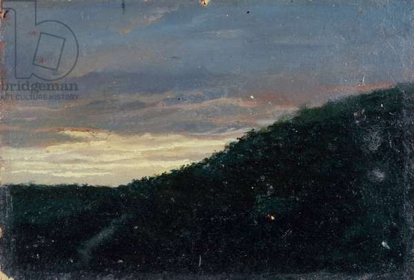 Sunset in the hills (Tramonto in collina), by Giuseppe De Nittis, 1875, 19th Century, canvas, 15 x 21 cm