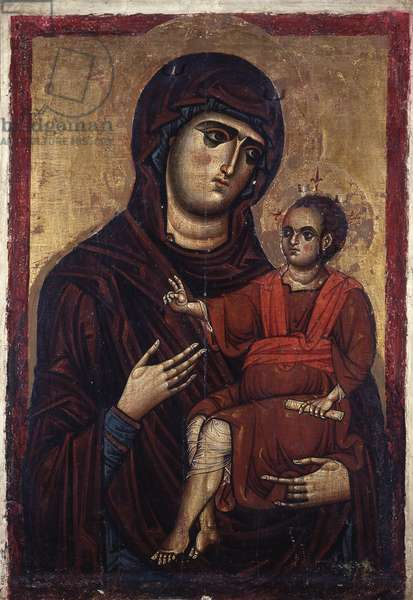 Madonna with Child known as Madonna of the Earthquake, by Unknown Artist, 5th - 11th Century, tempera on board