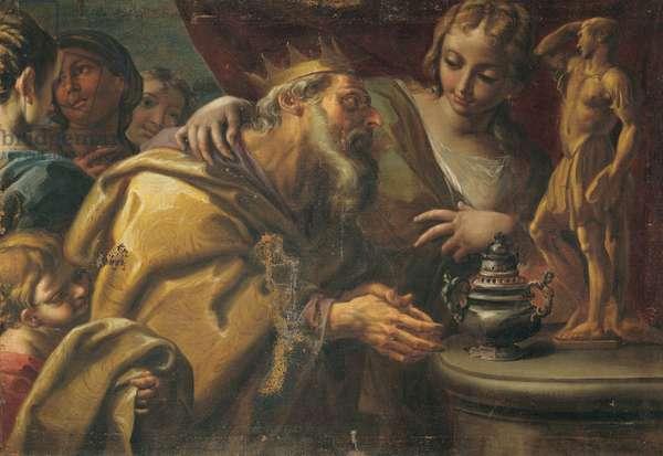 Solomon sacrifices to idols (Salomone sacrifica agli idoli), 17th century (oil on canva)