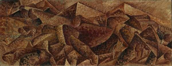 Plastic Dynamism - Horse + Tenement or Horse + Houses (Dinamismo plastico - cavallo + caseggiato o Cavallo + case), by Umberto Boccioni, 1915, 20th Century, oil on canvas, 39 x 105 cm